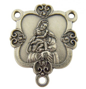 Oxidised Alloy Decorative Madonna with Child Rosary Centrepiece Medal, 2.9cm