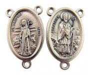 Silver Tone Saint Patrick with St Bridget Rosary Centrepiece Medal, 2.5cm