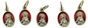 Red Enamel Immaculate Heart of Mary Pray for Us Medal Charm, Set of 5, 1.6cm