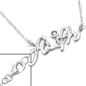 Silver Faith Inline Necklace with Cubic Zirconia