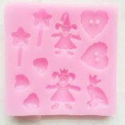 """Prince Charming"" theme Fairy Tale Story Book Princess and the Frog Silicone Candy Mould, include magic wand, magicians,heart shaped button, heart shape diamonds, frog Sugarcraft cake decoration Food Grade Icing Cupcake topper Mould, non stick Sugar pa .."