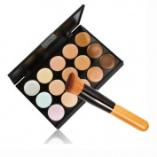 Tmalltide 1pcs Make up Brush Oblique Head Powder Brush +15 Colours Contour Face Cream Makeup Concealer Palette