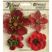Petaloo Mixed Textured Blossoms, 3.2cm to 6.4cm , Red, 4-Pack