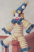 Vintage Crochet PATTERN to make - Clown Doll Toy Crocheted Rounds. NOT a finished item. This is a pattern and/or instructions to make the item only.