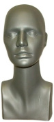 38cm Tall Female Mannequin Head Durable Plastic Grey