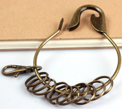 Nument Retro Bronze Large Circular Ring Metal Keychain Key Holder Key Ring with 10 Rings