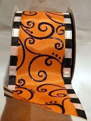 Reliant Ribbon Halloween Swirl Mix We Fabric Ribbons, 6.4cm x 10 yd., Oranage/Black