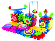 Gear Building Toy Set - Interlocking Learning Blocks - Motorised Spinning Gears - 81 Piece Playground Edition by Krazy Gears
