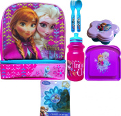 Disney Frozen Anna, Elsa and Olaf 2 Compartment Lunch Box with Disney Frozen Pull-top Water Bottle, Disney Frozen Sandwich Container , Snack Container, Utensils and Disney Frozen Crust Cutter