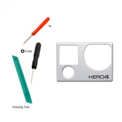 Easy To Shop Front Cover Faceplate Frame Housing Repair Parts Fix for GoPro Hero 4 Silver + KR-NET Stand