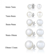 SPOIL CUPID Freshwater White Pearl 925 Sterling Silver Button Shape Stud Ball Earrings or Earring Set