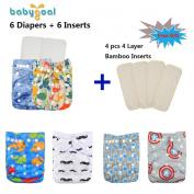 Babygoal Baby Reuseable Washable Pocket Cloth Nappy 6pcs+ 6 Inserts 6fb16