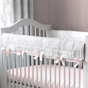 Pink and Grey Damask Crib Rail Cover