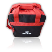 Beckly Super Bowling Tote -Bowling Bag- Fits Your Bowling Ball and Bowling Shoes- Single Bowling Ball Tote- Front Zippered Pocket and inside Shoe Sleeves-Carry and Shoulder Straps-For your Home Bowling Alley or At the Professional Arena- Perfect Bowlin ..