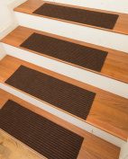 NaturalAreaRugs Halton Polyester Carpet Stair Treads, Handmade, Rubber Backing, Durable, Stain Resistant, Environmental-Friendly, Chocolate, Set Of 13