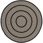 Safavieh Braided Collection BRD401C Hand-woven Ivory and Black Cotton Round Area Rug, 1.2m in Diameter