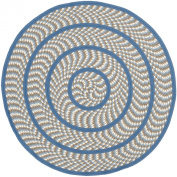 Safavieh Braided Collection BRD401A Hand-woven Ivory and Blue Cotton Round Area Rug, 1.2m in Diameter