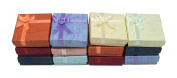 Novel Box® Cardboard Jewellery Earring Tree Gift Boxes With Rosebug Bows in Assorted Colours 2.3X2.7.6cm X 1.9cm (Pack of 12) + Custom NB Pouch