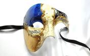 Royal Blue/Purple Half Musical Masquerade Mask Phantom with an Exclusive Vintage Design