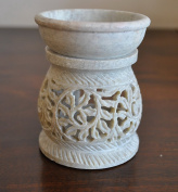 StarZebra Summer Deals Essential Oil Diffuser, Oil Burner, Oil Warmer with Tea Light Holder for Aromatherapy - Artisan Handcarved Soapstone 7.6cm with Intricate Tendril Openwork
