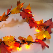 Cordless Battery Operated 190cm Lighted Maple Leaf Harvest Garland