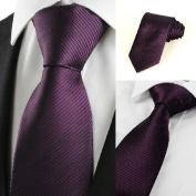 Pisces.goods New Striped Plum Purple Men's Tie Formal Suit Necktie Wedding Holiday Gift