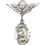 Sterling Silver Baby Badge with St. Gerard Charm and Angel w/Wings Badge Pin 2.2cm X 1.9cm