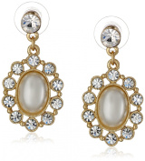 """Signature 4900cm Pearl Essentials"""" Gold-Tone and Oval Drop Earrings"""