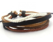 APECTO Jewellery Leather Brown & Multicolour Ropes Surfer Wrap Bracelet Handmade