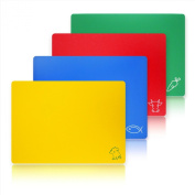 New Star Foodservice 28706 Flexible Cutting Board, 30cm by 38cm , Assorted Colours, Set of 4