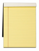 TOPS Docket Gold Writing Tablet with Privacy Cover, 22cm x 30cm , Perforated, Canary, Legal/Wide Rule, 70 Sheets per Pad