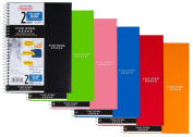 Mead Five Star Spiral Notebook, College Ruled, 2 Subject, 15cm x 24cm , 100 Sheets, Assorted Colours (06180), 6 Pack
