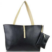 TOOGOO(R) New design candy coloured handbags child-mother relation women bags PU Leather Shoulder bags black