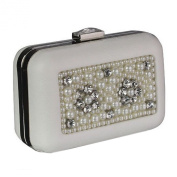 Box Style Clutch Bag With Crystal Decoration And Beaded Detail - Bridal Wedding Prom Handbag Purse Bags