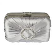 Satin Rouched Hard Case Clutch Bag With A Sparkly Circle Crystal Brooch And Large Clear Crystal Top Clasp