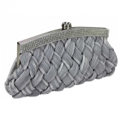 Soft Satin Woven Clutch Bag With A Crystal Trim - Wedding Bridal Party Prom