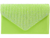 New Lime Green Rainbow Diamante Satin Envelope Clutch Evening Bag Handbag & Shoulder Chain