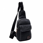 TOOGOO(R) Men's Casual Small Canvas Vintage Shoulder Hiking Crossbody Bicycle Bag Messager bags-black
