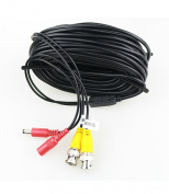 Binwo 18m All-in-One BNC Video and Power Extension Cable with Connector Security camera wire cord for CCTV DVR Surveillance System