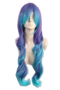 Women's Long Curly Cosplay Wig Teal Blue Purple Two Tone Fibre Hair 60cm