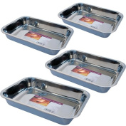 4PC BAKING TRAY STAINLESS STEEL DEEP ROASTING OVEN PAN GRILL BAKE COOK DISH NEW
