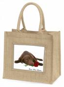 Choc Labrador with Rose 'Love You Mum' Large Natural Jute Shopping Bag Birthday