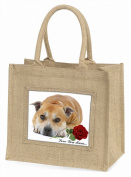 Red Staff Bull+Rose 'Love You Mum' Large Natural Jute Shopping Bag Birthday Gift