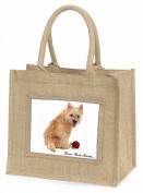 Cairn Terrier+Rose 'Love You Mum' Large Natural Jute Shopping Bag Birthday Gift