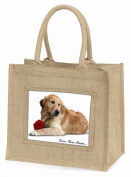 Goldie with Rose 'Love You Mum' Large Natural Jute Shopping Bag Birthday Gift