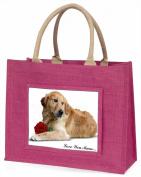 Goldie with Rose 'Love You Mum' Large Pink Jute Shopping Bag Animal Gift