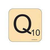 """""""Q"""" Scrabble Letter NOVELTY Coaster - Fun Word Games Themed Design"""