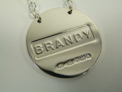 NEW Sterling Silver Round DECANTER / Wine Label - BRANDY - Boxed