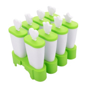 Fieans Creative Combined 8 Lattice DIY Popsicle Mould Ice Cream Mould Box Summer Essential, Set of 8, Green