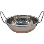 5 X 14CM COPPER BOTTOM CURRY SERVING DISHES STAINLESS STEEL INDIAN BALTI KARAHI